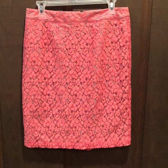 Apt. 9 Dresses & Skirts - Tan with Coral Lace Overlay Pencil Skirt